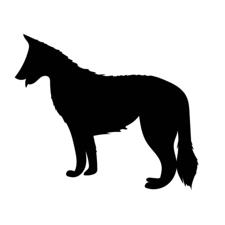 Vector silhouette of shepherd dog standing isolated on white background Çizim