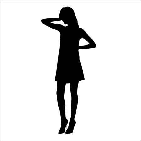 Vector black silhouette of a fashion woman isolated on white background 2