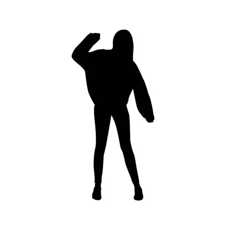 Vector black female silhouette of young teenage girl hipster dancing and posing in sweetshirt isolated on white background.