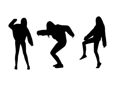 Set of vectors black female silhouettes of young teenage girl hipster dancing and posing in sweetshirt isolated on white background.
