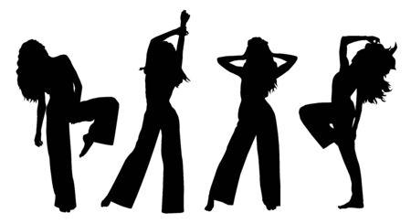 Vector black silhouettes of beautiful stylish fashion female dancer