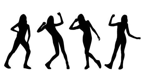 Vector black silhouettes of posing women Çizim