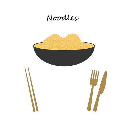 Yellow noodle soup in gray bowl isolated on white background. Chopsticks and fork with knife to choose how to eat. Vector illustration.