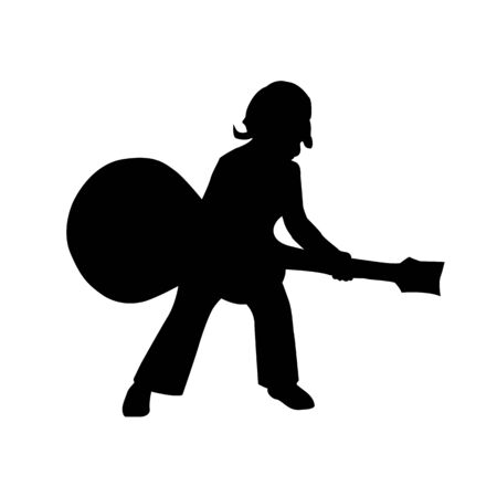 vector black silhouette of a kid playing guitar