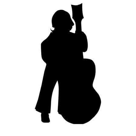 vector black silhouette of a kid standing and playing guitar Çizim