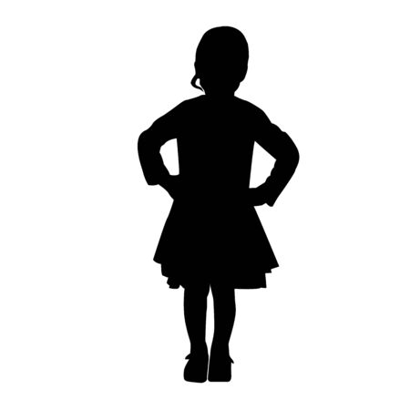 vector black silhouette of fashion kid girl standing isolated on white background