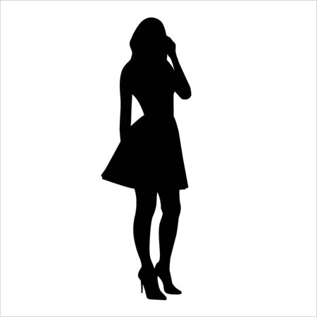 Vector silhouette of beautiful stylish girl in dress isolated on white background