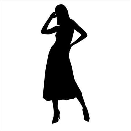 Vector silhouette of beautiful stylish girl posing in long skirt isolated on white background