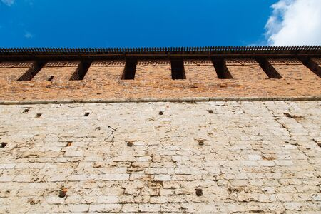 Historic wall of Kremlin in Nizhniy Novgorod, Russia. Landmark of the city in summer day. 免版税图像