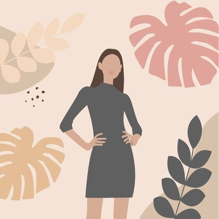 Trendy fashion female silhouette on pastel colored background with shapes of tropical leaves.