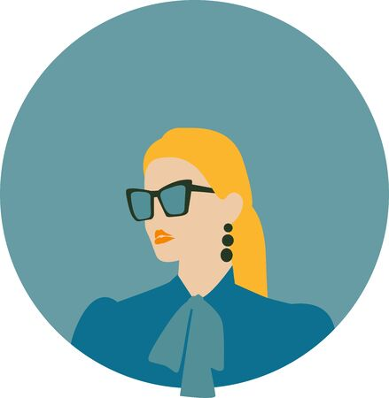 Fashion stylish girl in sunglasses, contemporary art poster, vector collage