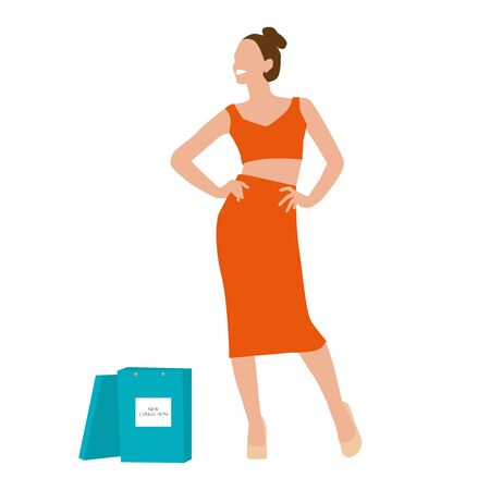 Stylish smiling happy woman in bright colorful outfit go shopping with blue bags. Vector illustration Иллюстрация