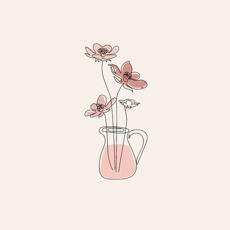 Flowers in jug, line art feminine floral concept, minimalism, beige wildflowers on pastel backgroind, vector illustration for cards, icons, pins and other design.