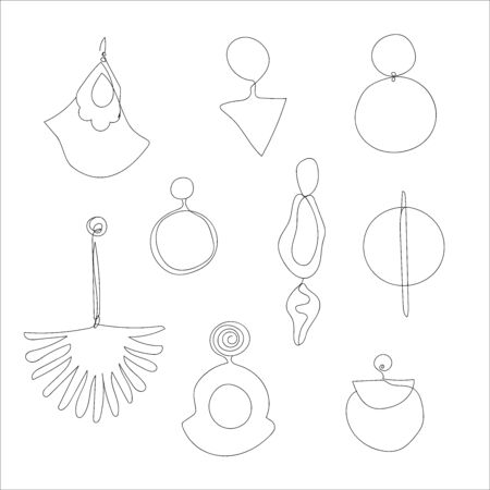 Line art trendy earrings, minimalistic vector illustration for branding design Vettoriali