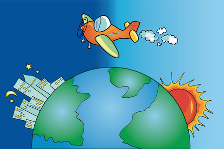 Color illustration showing an airplane to travel in the sky over the world Vector
