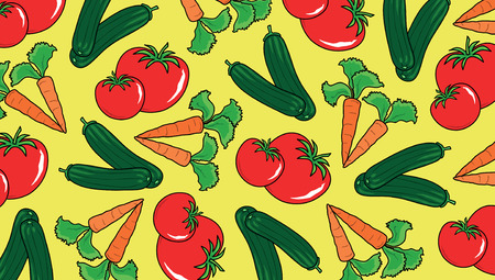 Illustrated background decorated with different types of vegetables Vector