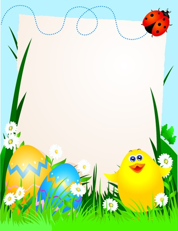 Easter background with chick, vector Stock Vector - 9281809