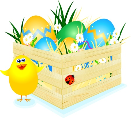 casket: Easter eggs with chick, vector