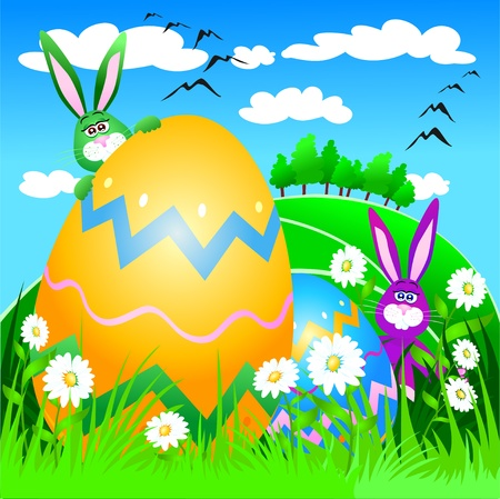 Cute rabbits and Easter eggs, vector Vector