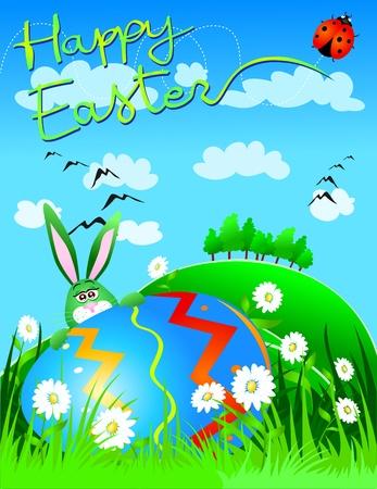 best wishes: Easter card, vector Illustration