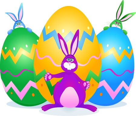 giant easter egg: Cute rabbits and Easter eggs, vector