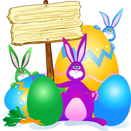 giant easter egg: Rabbits, Easter eggs and sign. Vector