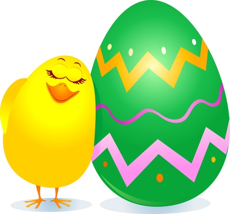Chick and Easter egg, vector Stock Vector - 9281812