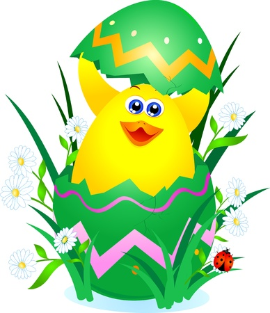 A cute chick comes out of an Easter egg, vector  Stock Vector - 9281959