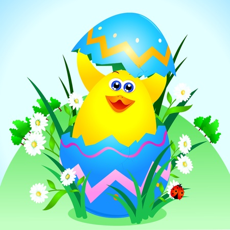 A cute chick comes out of an Easter egg, vector  Vector