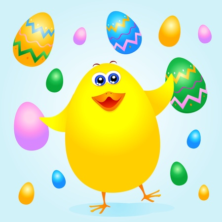 Chick and Easter eggs, vector Vector