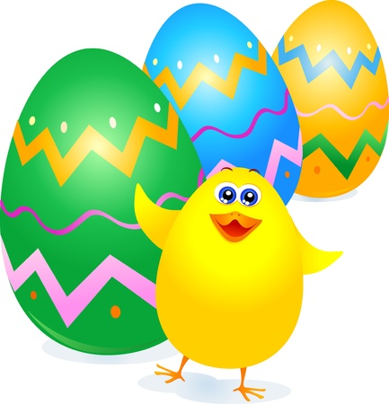 passover and easter chick: Chick and Easter eggs, vector
