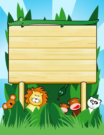 Wooden sign customizable with jungle animals, vector Vector