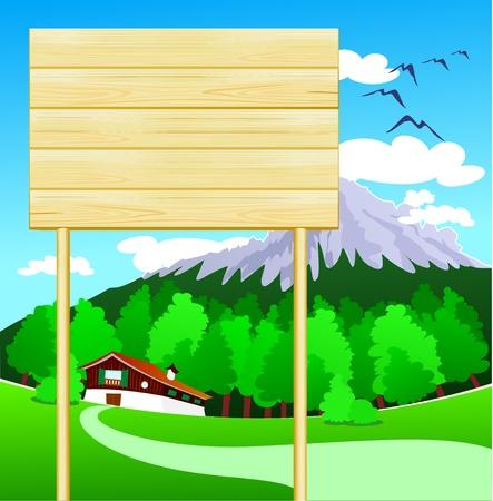 Wooden sign customizable on mountain, vector Vektorové ilustrace