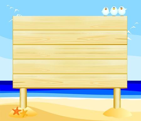 Wooden sign customizable on the beach, vector  Vector