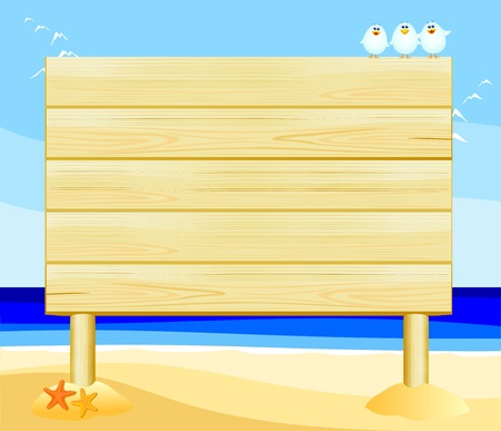 gull: Wooden sign customizable on the beach, vector  Illustration