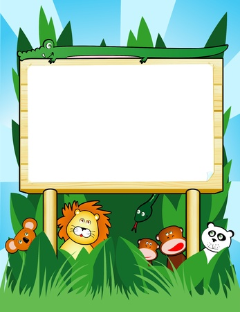 jungle cartoon: Signo de madera personalizable con animales de la selva, vector