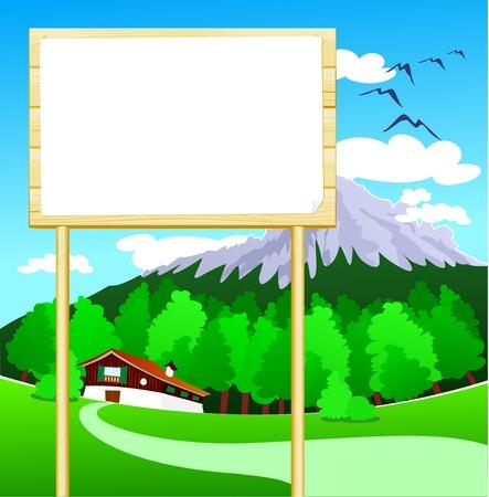 rekolekcje: Drewniane znak można dostosować na górskich, wektorowe