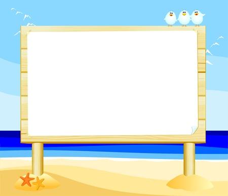 gaviota: Vector de madera signo personalizable en la playa,
