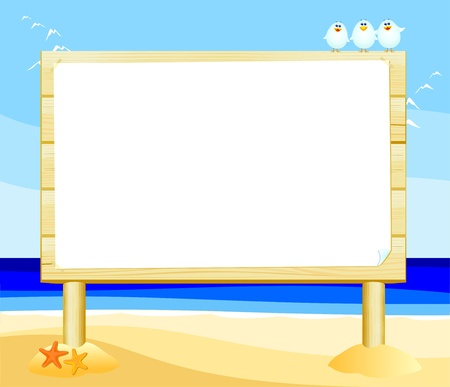 Wooden sign customizable on the beach, vector Stock Vector - 9353243