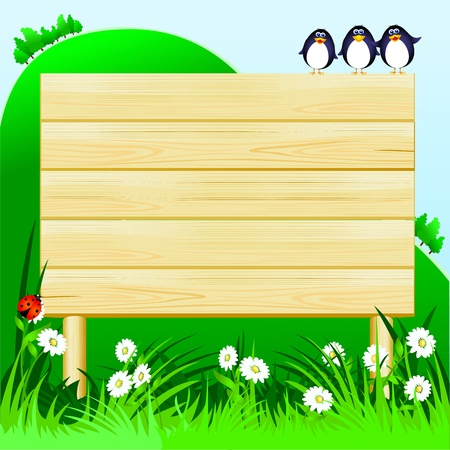 Wooden sign customizable and funny birds, vector image