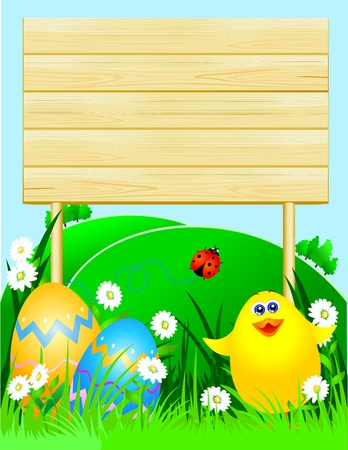 Easter background with wooden sign customizable, vector Vector