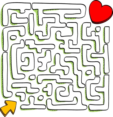 labyrinth: At the end of the maze is success, vector