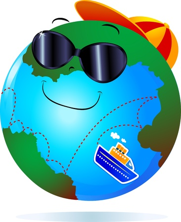 cruising: The concept of cruising around the world expressed in an ironic way , vector Illustration