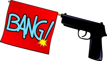A gun fires a red flag,Bang