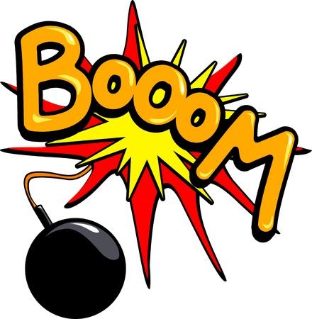 Eine Bombe explodiert in eine laute Runde Boom