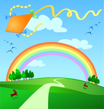 flying a kite: Spring background with kite flying