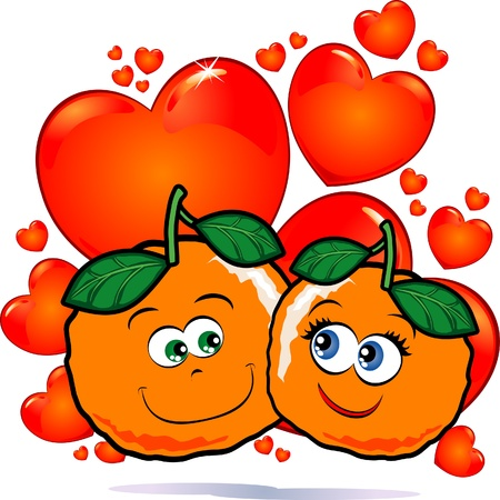A funny pair of oranges in love against a backdrop of red hearts Vector