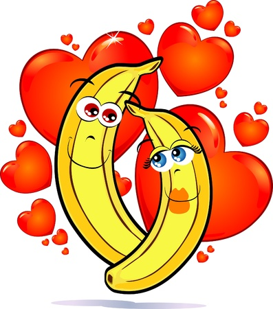 A funny pair of bananas in love against a backdrop of red hearts Stock Vector - 9407491