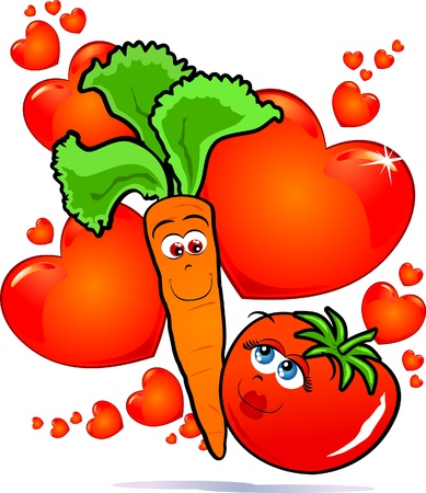 funny tomatoes: Vegetables in love, vector image