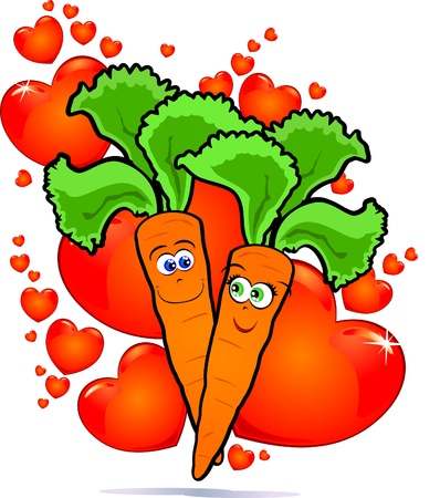 Vegetables in love, vector image